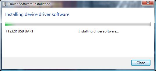 Driver Software Installation - Installling device driver software - FT232R USB UART