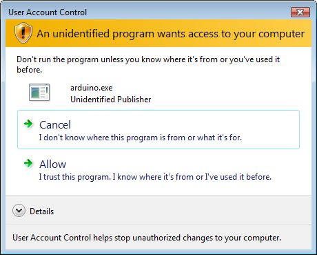 User Account Control - An unindentified program wants access to your computer