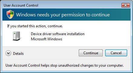 UAC dialog - Windows needs your permission to continue - If you started the action, continue. - Device driver software installation - Microsoft Windows